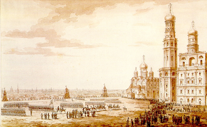 Russian strongholds. M.N. Vorobyev. Parade at Ivanovskaya Square in Moscow Kremlin. 1817